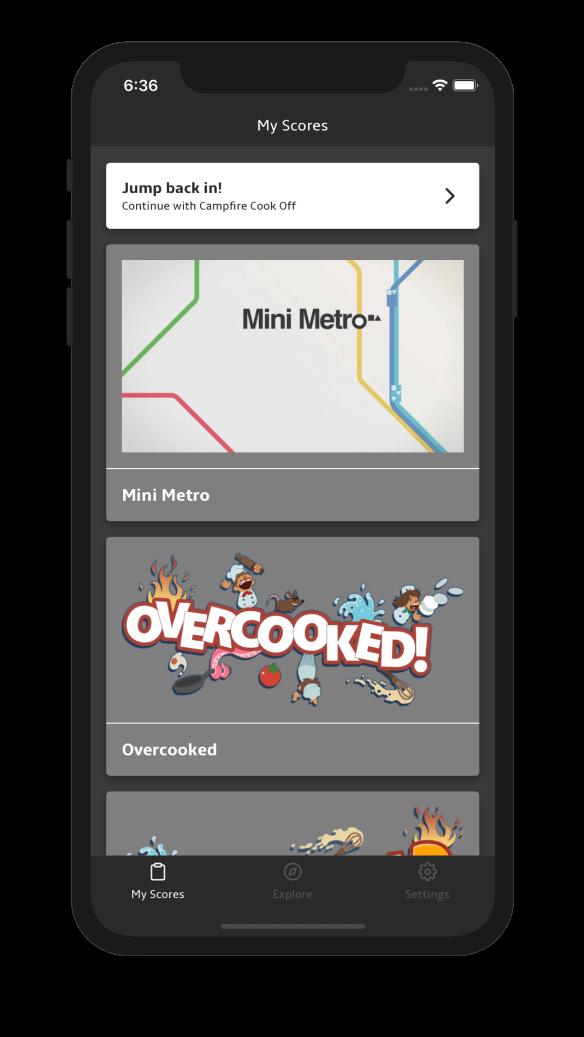 trackscore app homescreen dark theme