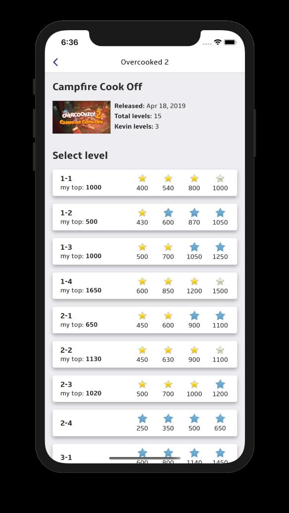 trackscore app levels light theme